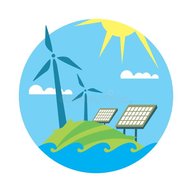 Rena resurser Sol- och vindenergiutveckling vektor illustrationer