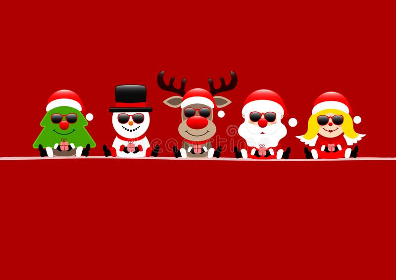 Rena Santa And Angel With Sunglasses do boneco de neve da árvore do cartão vermelho ilustração royalty free
