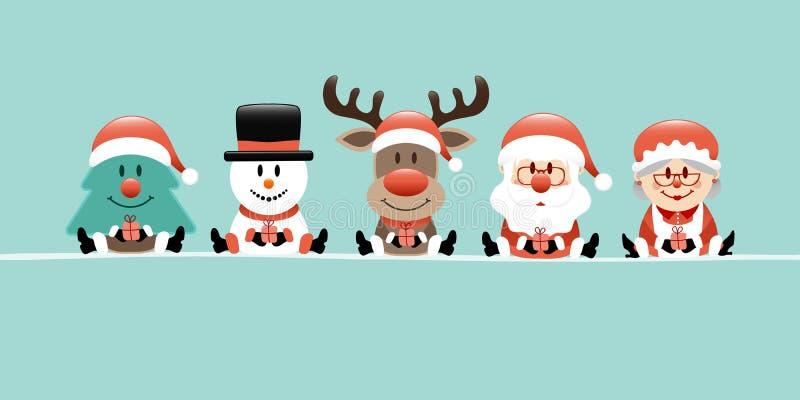 Rena Santa And Wife Turquoise do boneco de neve da árvore de Natal da bandeira ilustração stock