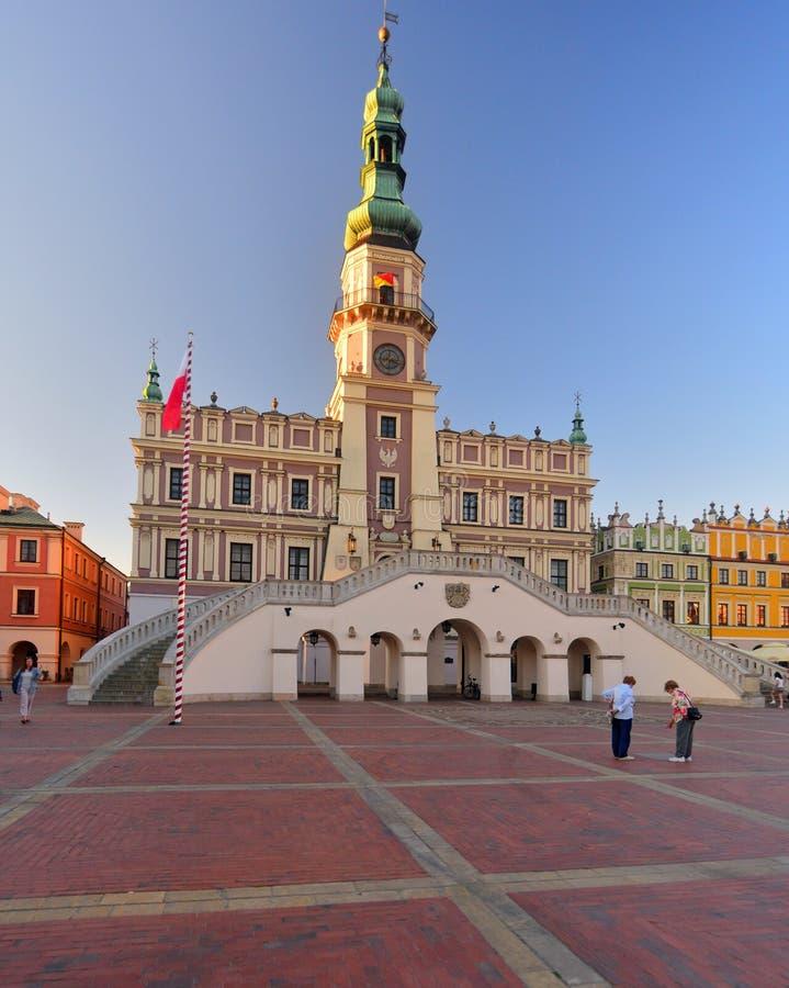 Renaiisance城镇厅在扎莫希奇,在波兰 库存照片