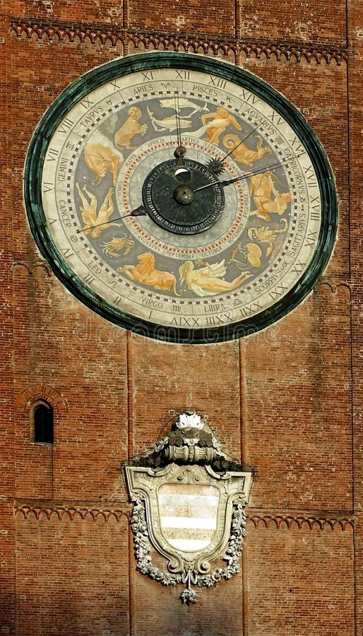 The Renaissance astronomical clock of the Torrazzo, Cremona, Italy royalty free stock images