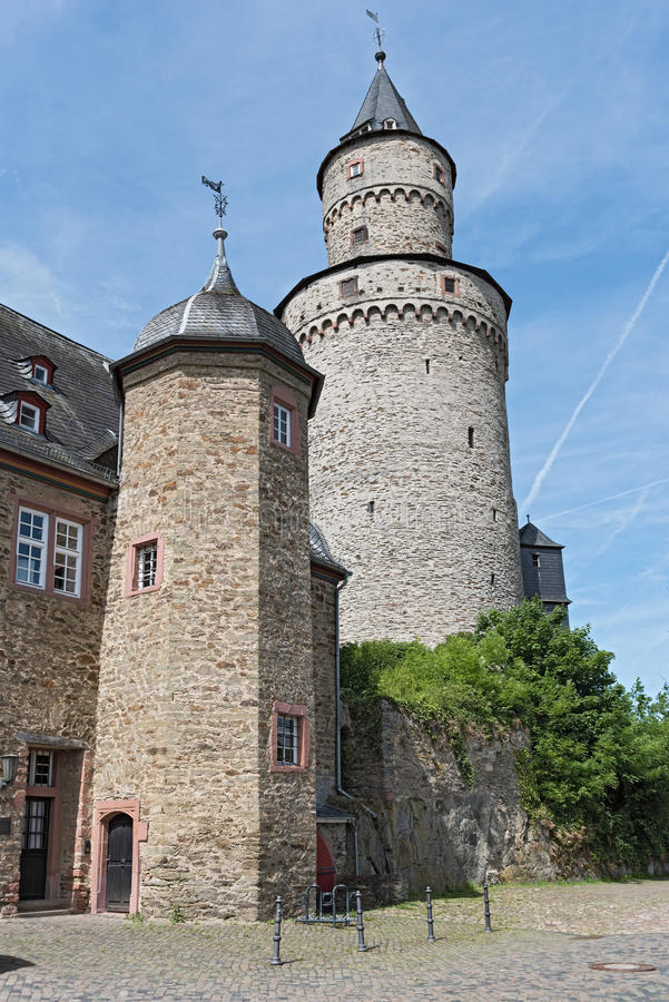 The Renaissance castle Idstein with a witch tower stock image