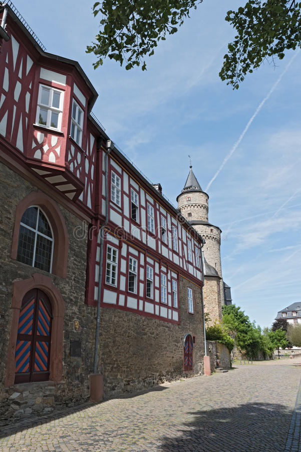 The Renaissance castle Idstein with a witch tower.  stock image