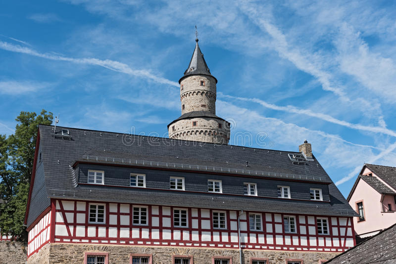 The Renaissance castle Idstein with a witch tower.  stock photography