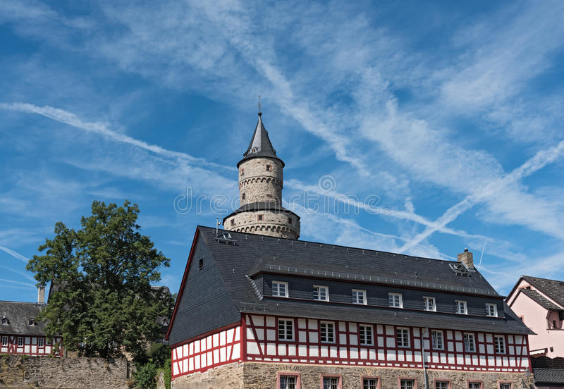 The Renaissance castle Idstein with a witch tower.  royalty free stock images
