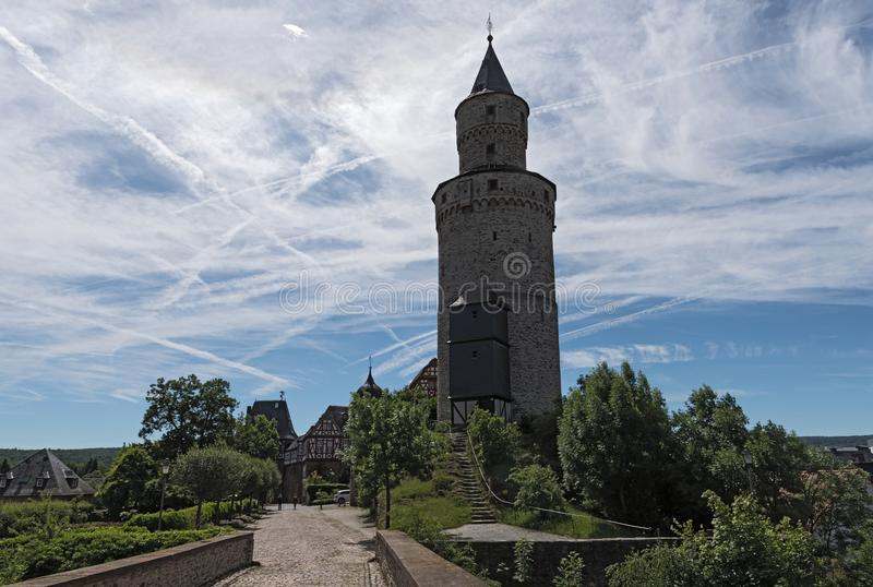 The Renaissance castle Idstein with a witch tower.  stock images