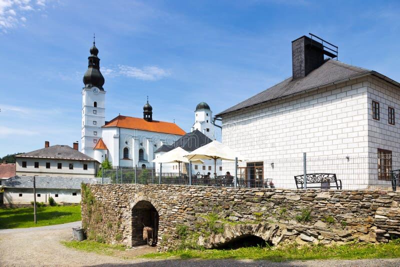 Renaissance castle Kolstejn, city Branna, Jeseniky-bergen, Tjeckien royaltyfria bilder