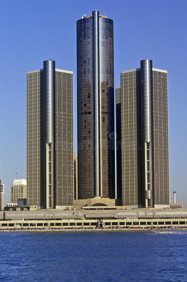The Renaissance Center, a skyscraper office complex in downtown Detroit, Michigan royalty free stock images