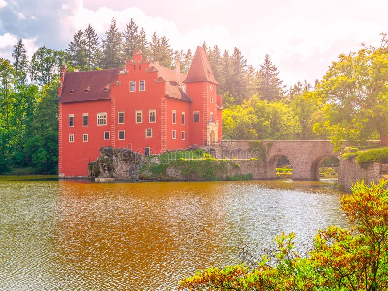 Renaissance chateau Cervena Lhota in Southern Bohemia, Czech Republic. Idyllic and picturesque fairy tale castle on the royalty free stock image