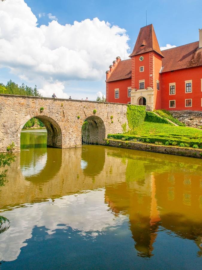 Renaissance chateau Cervena Lhota in Southern Bohemia, Czech Republic. Idyllic and picturesque fairy tale castle on the royalty free stock images