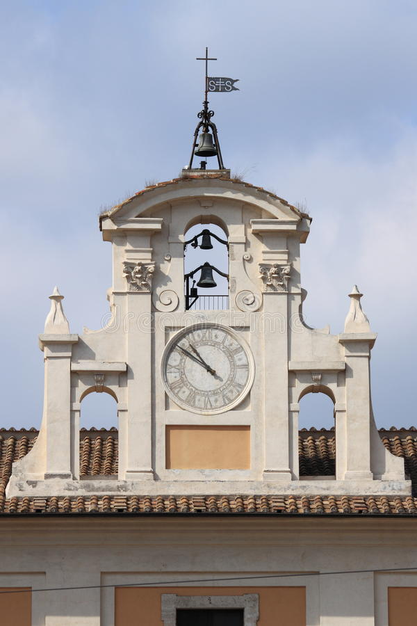 Renaissance clock tower in Rome royalty free stock photography