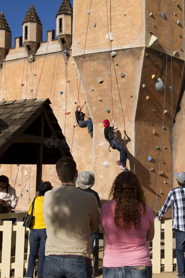 Renaissance Festival Castle Wall Climb royalty free stock photography