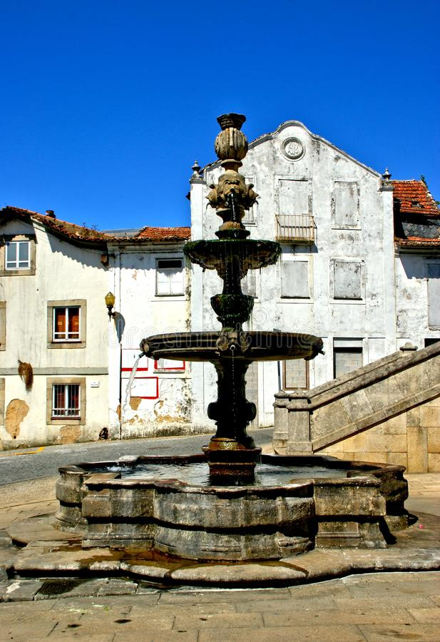 Renaissance fountain in Santa Maria da feira. Portugal royalty free stock photo