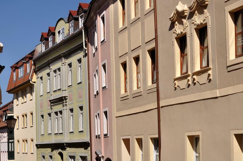 Renaissance houses, bautzen. Foreshorten of renaissance houses in city centre, plaster facade with cornice and pastel colours stock image