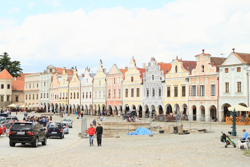 Renaissance houses on square in Telc royalty free stock image
