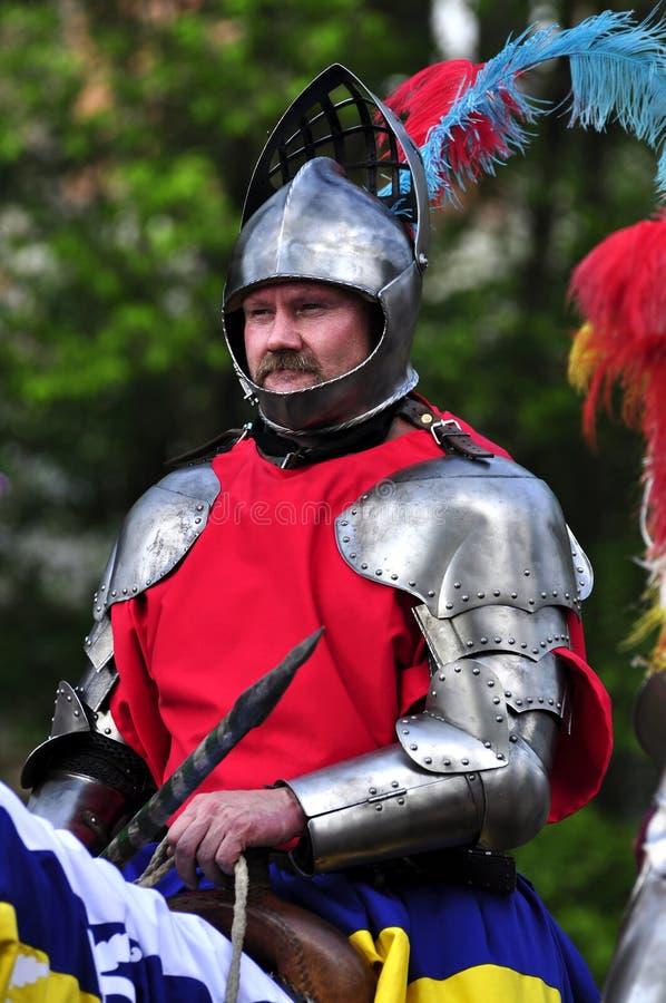 Renaissance knight on horseback royalty free stock photo