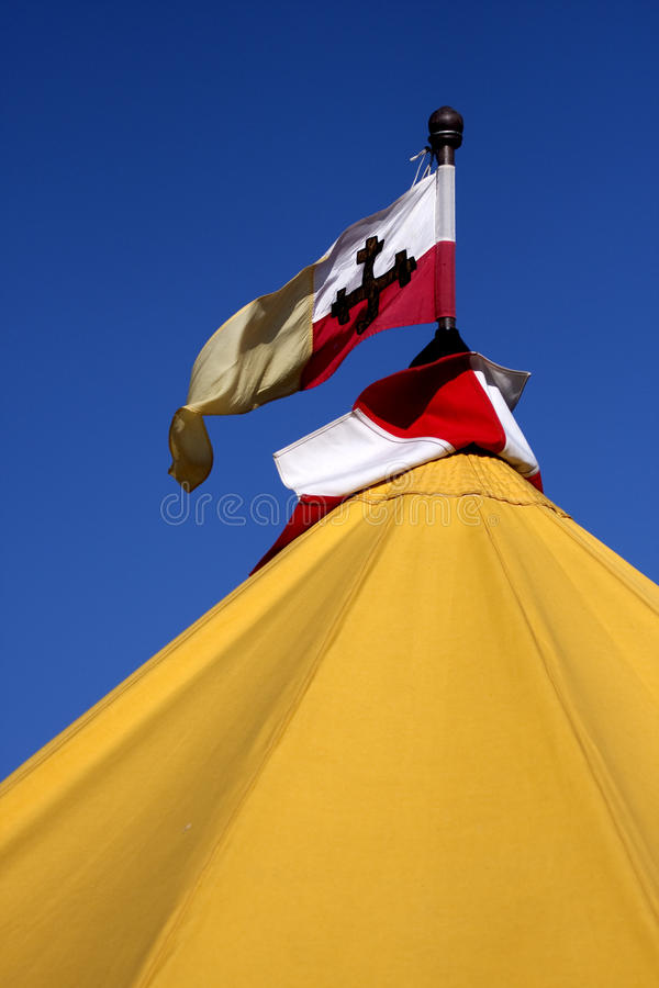 Renaissance Military Tents And Flags In The Camp Stock Images