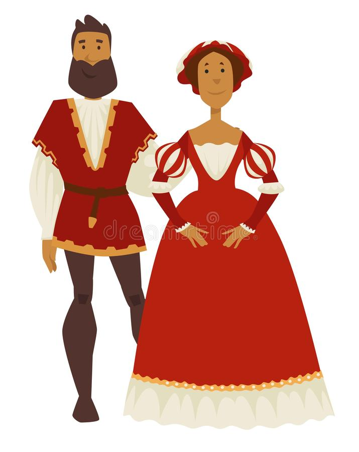 Renaissance style couple man and woman ball gown and leggings. Couple Renaissance style man and woman ball gown and leggings vector isolated characters corset royalty free illustration