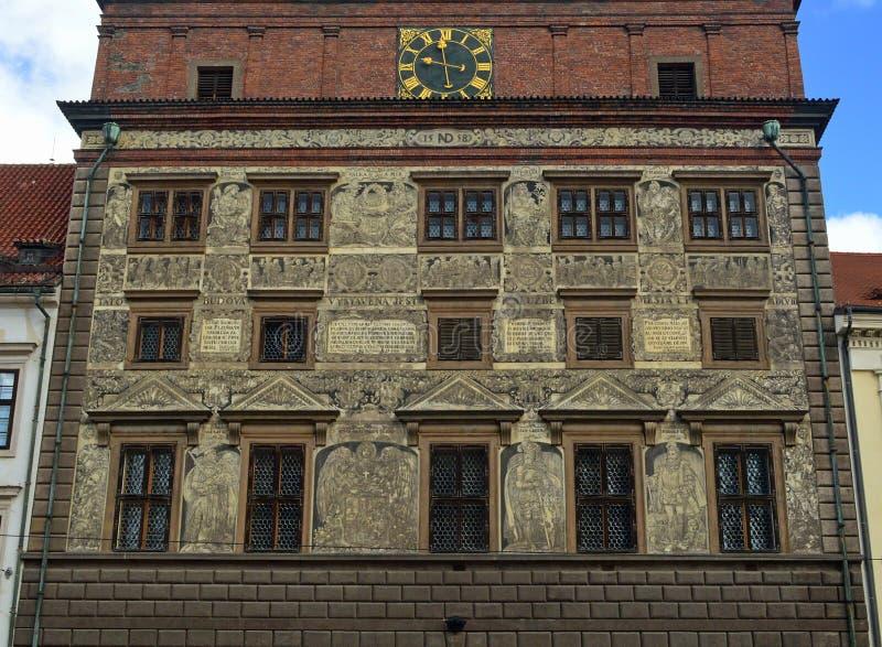 Renaissance Town Hall, Republic Square Plzen Czech Republic. Architectural detail on the facade of the the Renaissance Town Hall, Republic Square Plzen Czech royalty free stock image