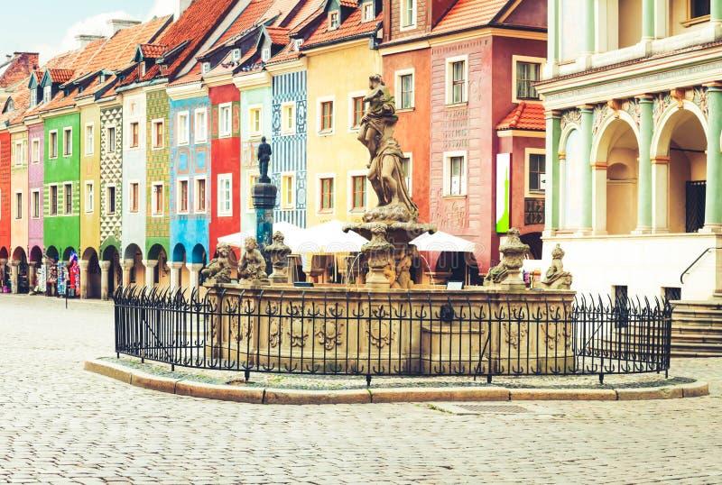 Renaissancehuizen, Poznan, Polen stock afbeeldingen