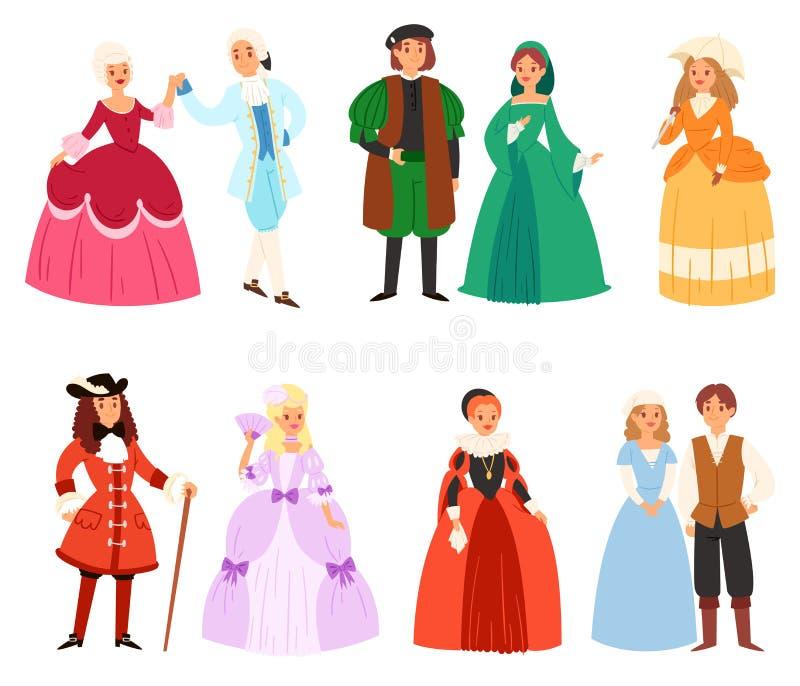 Renaissancekleidungsvektorfrauen-Manncharakter in der mittelalterlichen Modeweinlese kleiden historische königliche Kleidungsillu lizenzfreie abbildung