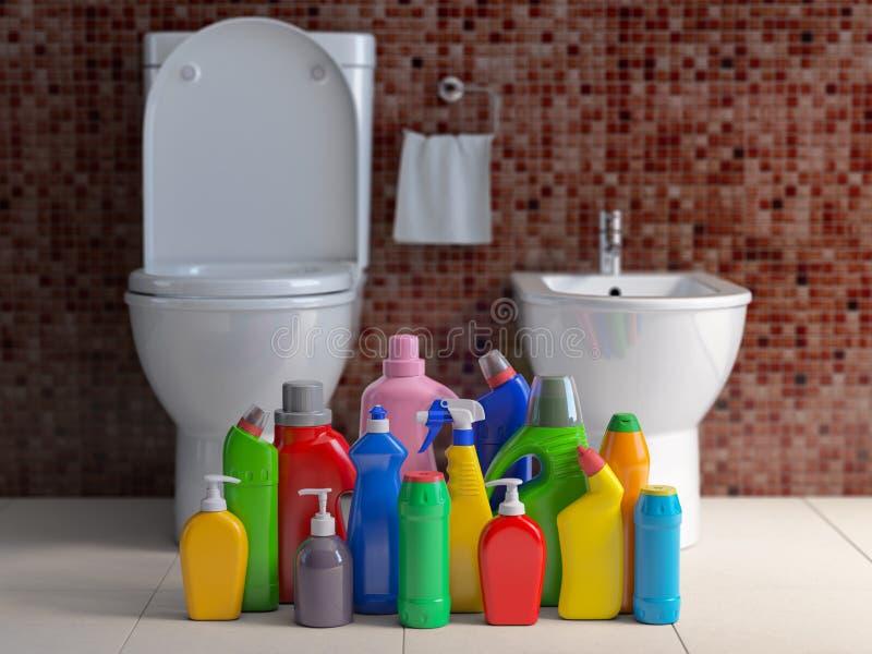 Renande flaskor och behållare Lokalvårdtillförsel i inre backgrount för wc-badrumtoalett Hem- lokalvårdservicebegrepp vektor illustrationer