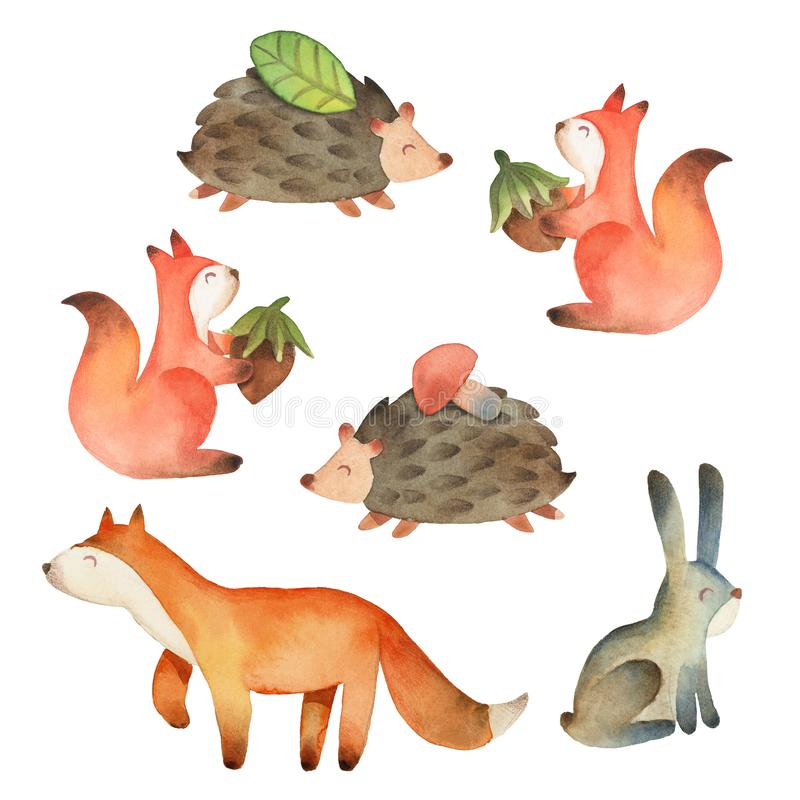 Renard, écureuil, lièvres et hérisson mignons de sourire petits avec la feuille, la noisette et le champignon d'isolement sur le  illustration stock