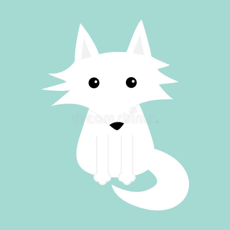 Renard blanc Loup polaire Icône mignonne de caractère de bébé de bande dessinée Collection animale arctique Fond plat de bleu d'h illustration libre de droits
