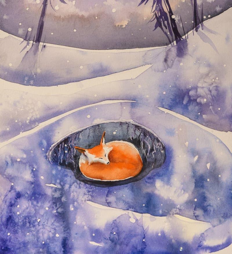 Renard de sommeil dans des aquarelles d'hiver peintes illustration libre de droits