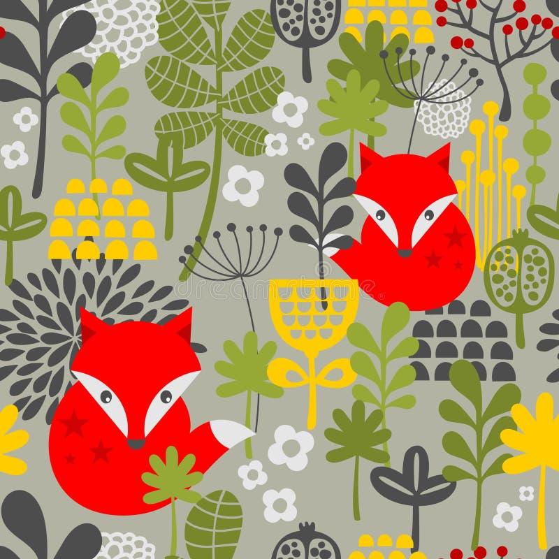 Renard de vintage et modèle de fleurs sans couture. illustration stock