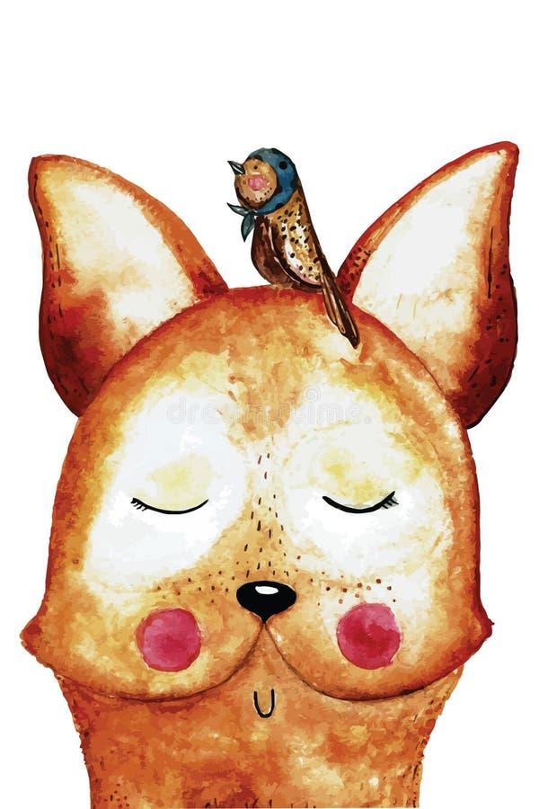 Renard drôle d'aquarelle avec l'oiseau sur la tête photos stock