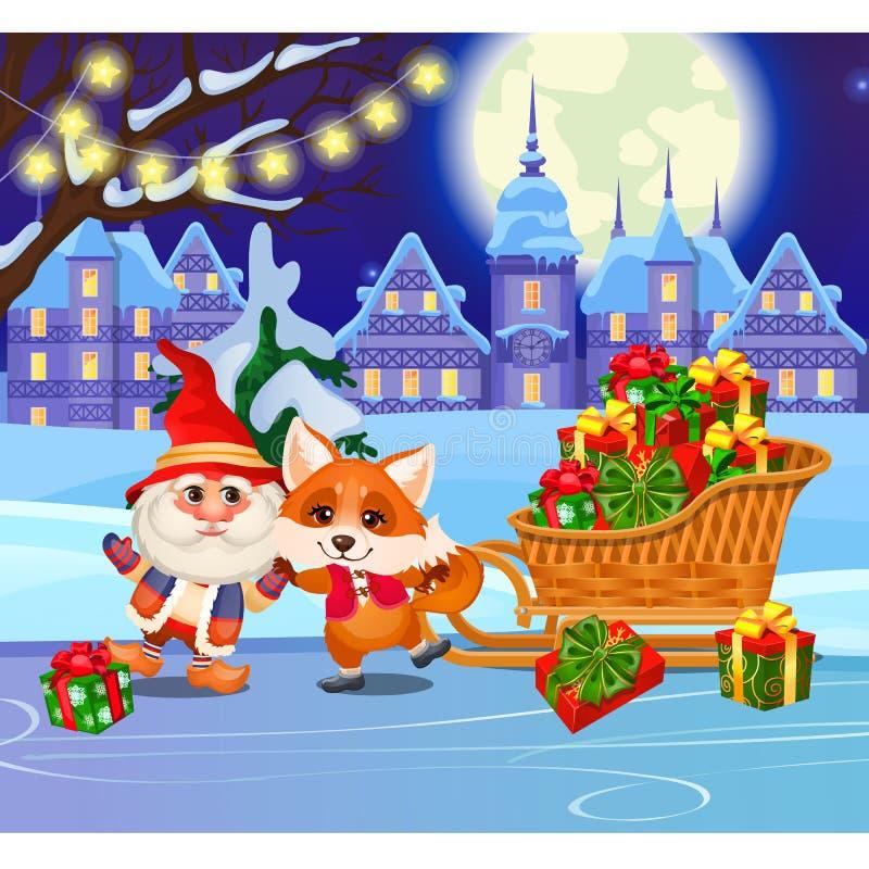 Renard drôle et gnome animé sur la patinoire ce soir Terrain de jeu d'hiver de divertissement de sports dans le village Échantill illustration stock