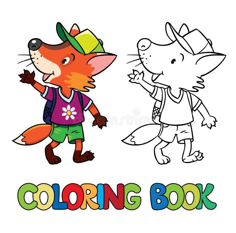 Renard drôle avec le sac à dos Livre de coloration illustration de vecteur