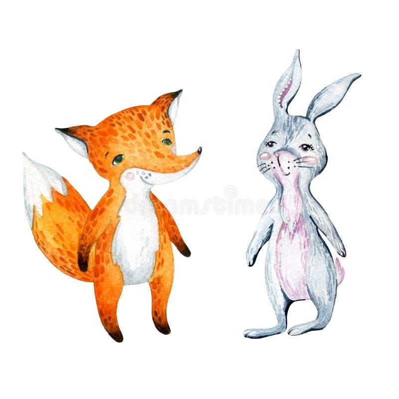 Renard et lapin mignons de bande dessinée d'aquarelle illustration stock