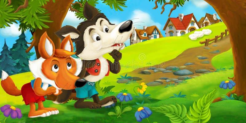 Renard heureux de bande dessinée tenant la scène de sheepcartoon d'un loup et un renard parlant entre eux après le vol des mouton illustration libre de droits