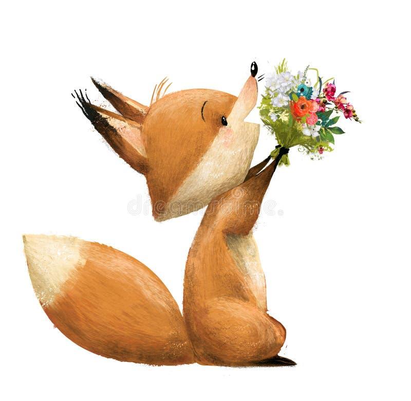Renard mignon avec le bouqet floral illustration stock