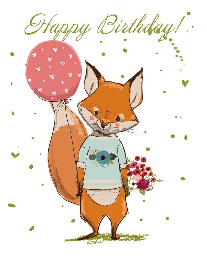 Renard mignon d'anniversaire illustration stock