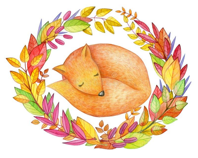 Renard mignon de sommeil dans des feuilles automnales illustration de vecteur