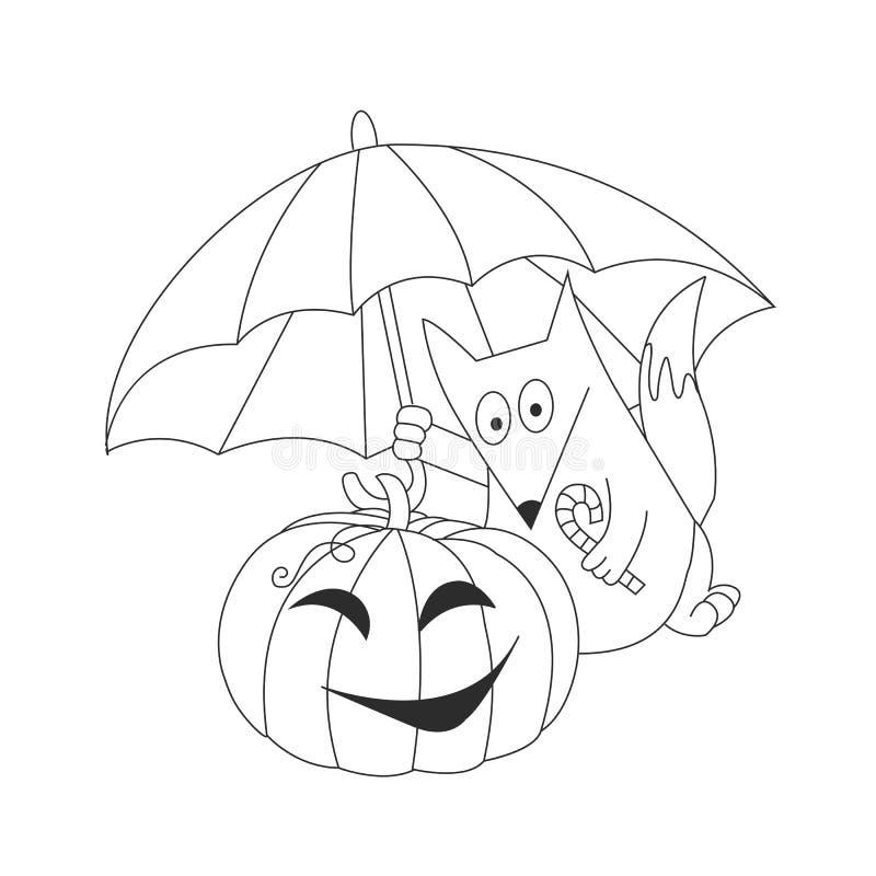 Renard mignon, parapluie de la pluie et un potiron Veille de la toussaint Vacances d'automne Illustration de vecteur illustration de vecteur