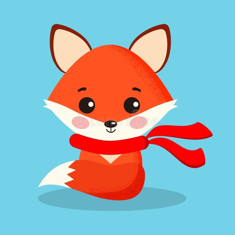 Renard rouge mignon et doux de bande dessinée d'isolement dans la pose se reposante avec l'écharpe rouge illustration libre de droits