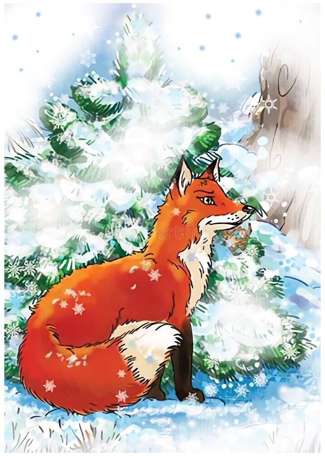 Renard rouge se reposant dans une forêt d'hiver près du pin vert illustration de vecteur
