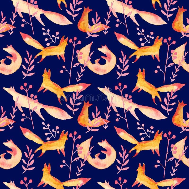 Renards rouges oranges mignons dans le modèle sans couture d'aquarelle rose de forêt sur le fond bleu-foncé de marine Renards sim illustration libre de droits