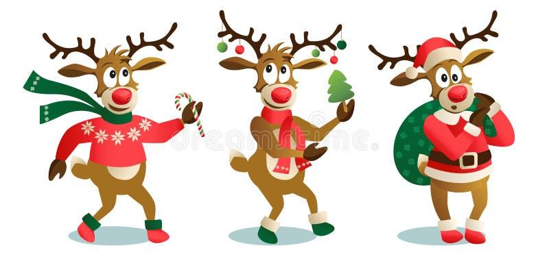 Renas bonitos e engraçadas do Natal, ilustração do vetor dos desenhos animados isolada no fundo branco, rena com Natal ilustração do vetor