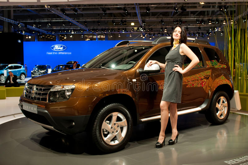 Renault喷粉器-俄国首放 免版税图库摄影