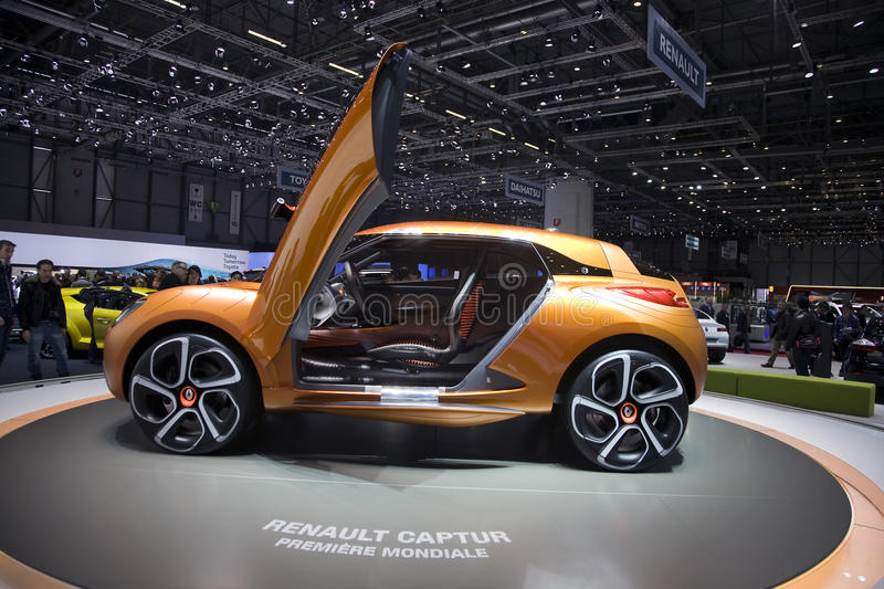 Renault Captur Concept car. World premiere of the Renault Captur Concept car at the 2011 Geneva Motor Show. Photo taken on: March 04th, 2011 royalty free stock photos