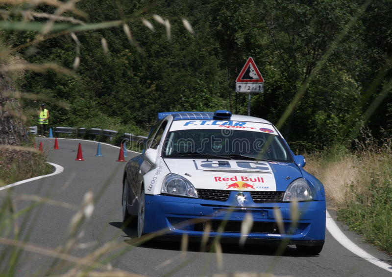 Renault Clio Super 1600 racing car. During a competition of speed 'uphill in Favale di Malvaro in the province of Genoa royalty free stock photo