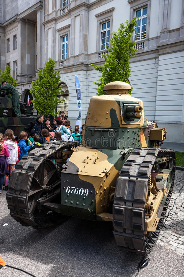 Renault FT 17 light tank. WARSAW, POLAND - MAY 08, 2015: Renault FT 17 light tank, tracked armoured vehicle, used mostly during the World War I. Public stock photo