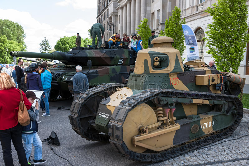 Renault FT Tank. WARSAW, POLAND - MAY 08, 2015: Renault FT 17 light tank, used mostly during the World War I. Public celebrations of 70th Anniversary of End of royalty free stock image