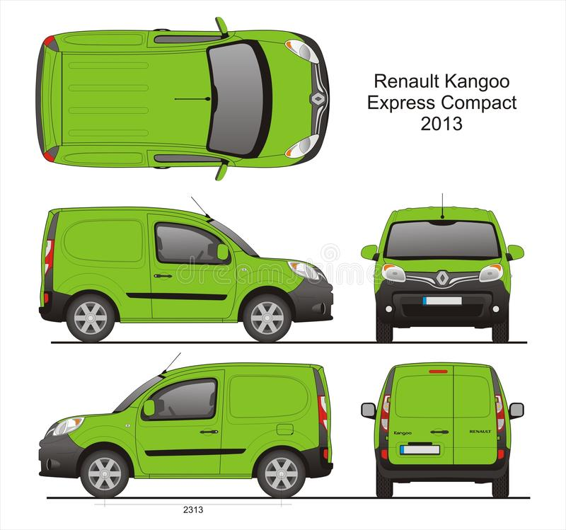 Renault Kangoo Express Compact Cargo-Bestelwagen 2013 Blauwdruk vector illustratie