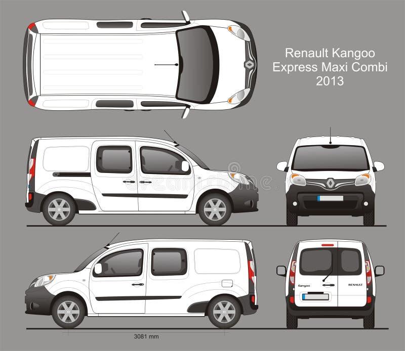 Renault Kangoo Express Maxi Combi-Bestelwagen 2013 Blauwdruk royalty-vrije illustratie